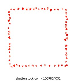 Heart frame for Valentines day with red glitter. February 14th day. Vector confetti for heart frame template. Grunge hand drawn texture. Love theme for voucher, special business ad, banner.