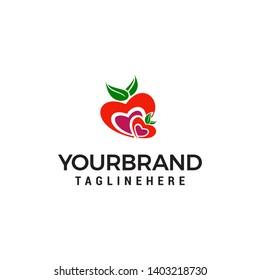 heart fruit logo design concept template vector