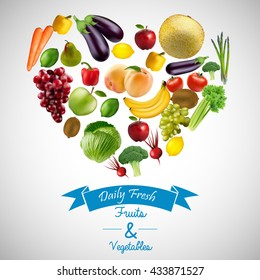 Heart of fruits and vegetables with blue ribbon.vector