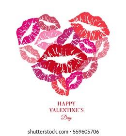 Heart full of kisses. Greeting card. Vector.