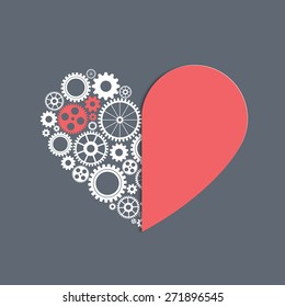 heart with gears, vector background for your design