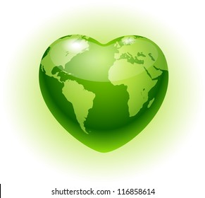 Heart globe.Eco icon