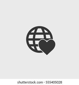 Heart Globe icon illustration isolated vector sign symbol