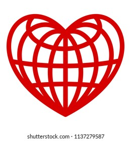 Heart of globe icon. Simple illustration of heart of globe vector icon for web design isolated on white background
