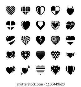 Heart Glyph Vector Icons Set