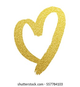 Heart gold foil glitter vector hand drawn icon on white background for luxury wedding or birthday greeting card. Valentines day card