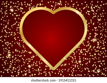 heart gold frame on red abstract background template for valentines day card