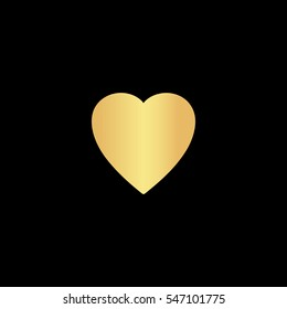 Heart. Gold symbol icon on black background