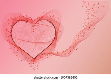 Heart gradient smoke wavy line romantic vector backgroud, red, pink lovely Saint Valentine Day background.