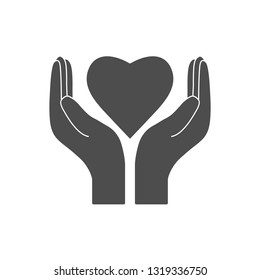 Heart in hand, charity icon. Vector illustration, flat design.