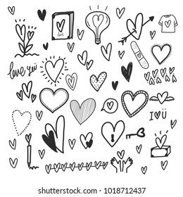 Heart hand draw, doodle concept vector illustration