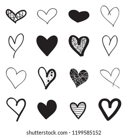 Heart hand drawn icons set isolated on white background. Hearts for web site, poster,placard,wallpaper and Valentine's day. Collection of hearts, creative art, modern concept. Vector illustration
