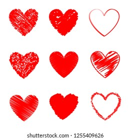 Heart hand drawn icons set isolated on white background. Collection of hand drawn hearts for web site, love symbol, wallpaper and Valentine's day. Creative art, modern concept. Vector illustration