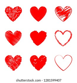 Heart hand drawn icons set isolated on white background. Collection of hearts for web site, sticker, love logo, label and Valentine's day. Creative art design, modern concept. Vector illustration