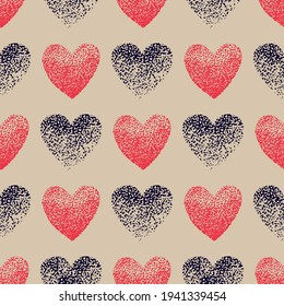 Heart hand drawn pointillism vector seamless pattern. Heart pointillism seamless background. Heart of dots for fabric, wrapping, textile, wallpaper, clothing.