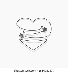 Heart with hand embrace. Vector illustration