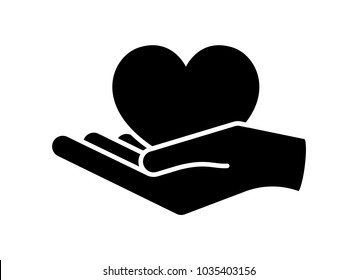 Heart in hand. Giving heart logo template for transplant ,organ, donation, charity, health, voluntary, nonprofit organization, isolated on white background, vector