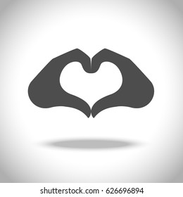 Heart from hand icon. Vector elements, symbol of love and health.