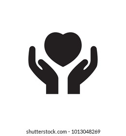 Heart in hand Icon. Vector illustration, EPS 10.