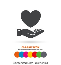 Heart and hand sign icon. Palm holds love symbol. Classic flat icon. Colored circles. Vector