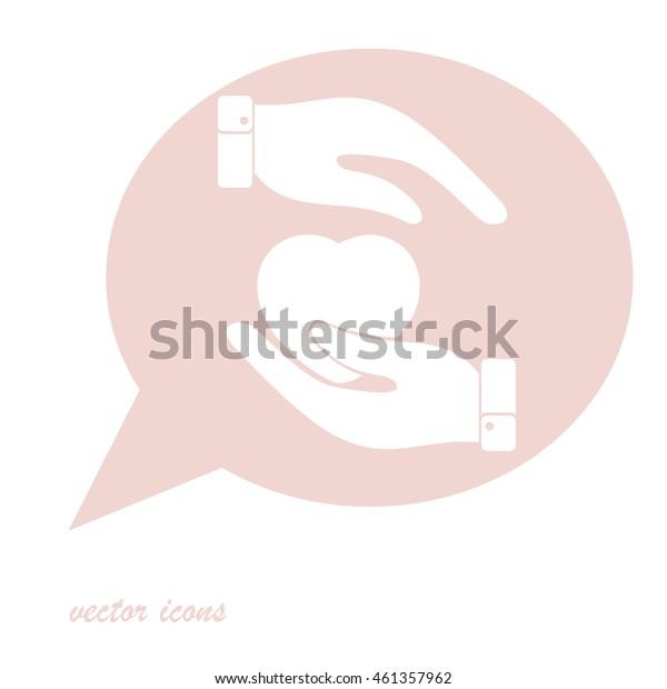 Heart in hand symbol