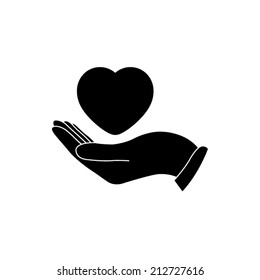 heart in hand - vector icon