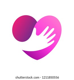 Heart hand vector for love and care logo, charity and donation symbol, wedding decoration vector template, hug icon