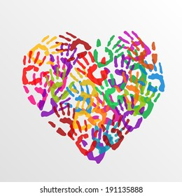 Multicolored Hand Print Heart On White Stock Vector Royalty Free