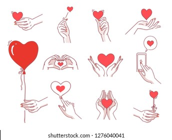 Heart hands female set. Women hand holding heart symbol Meaning of showing love. Various,different gestures with view left,right,top,bottom,palm,back,fingers. icon vector design of hand drawn style.