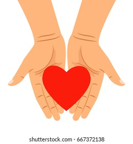 Heart in hands isolated on white. Vector hearts shape in outstretched hands for health caring, people charity and donation concepts
