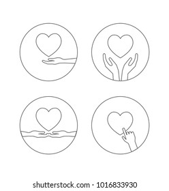 heart with hands outline icon set