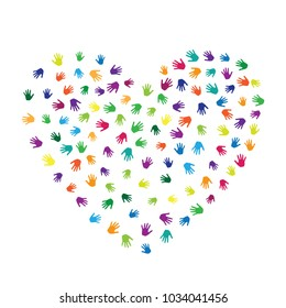 Heart of hands, palms isolated on white vector design. Multicolored handprints heart - symbol of love, compassion, humanity, friendship. Kids hands prints in paint illustration.