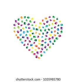 Heart Of Hands Palms Isolated On White Vector Design Colorful Handprints