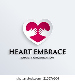 Heart in hands symbol, icon, logo template for Non profit Foundation