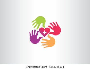 Heart with hands symbol logo design template. Medical symbol icon