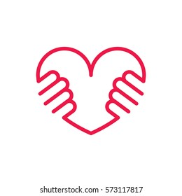 heart in hands thin line red icon on white background, happy valentine day