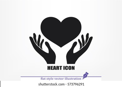 Heart in the hands vector icon.
