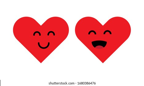 Heart happy. Smile face icon. Flat  vector isolated illustration