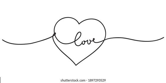 Heart. Happy Valentines Day. Abstract love symbol with handwritten text. Continuous line art drawing vector illustration