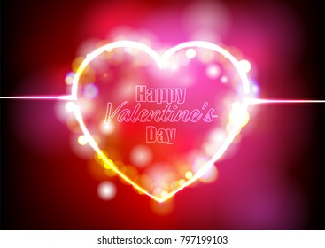 heart and happy Valentine's Day word on Abstract Light Bokeh Background Vector illustration for Wallpaper