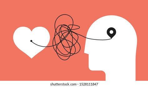 From heart to head. Distorted path from soul to brain. Psychology concept about yourself listening for your psychology therapy blog article image or post. Minimalistic vector illustration.