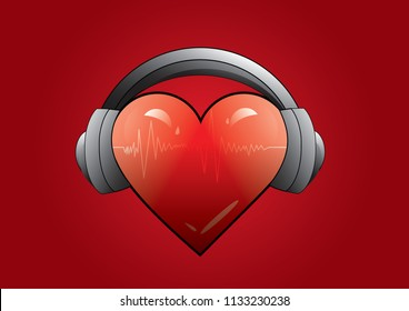 heart with headphones and equalizer music background