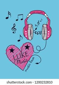 heart and headphones  music  slogan print