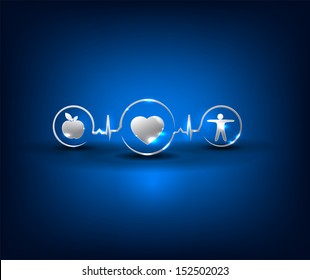 Heart health care symbols. Healthy food and fitness leads to healthy heart and life. Symbols connected with heart rate monitoring line. Bright and bold design.