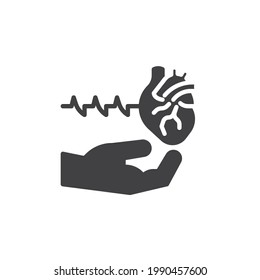Heart health care vector icon. filled flat sign for mobile concept and web design. Hand with heart beat glyph icon. Electrocardiography symbol, logo illustration. Vector graphics