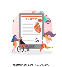 Heart health examination vector concept illustration. Blood testing, assesment of arteries and cardiovascular risks to prevent heart desease. Healthcare, cardiology composition for website page etc.