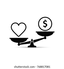Heart Health and Money on Scales icon. Balance, quality health concept in Flat design. Vector illustration.