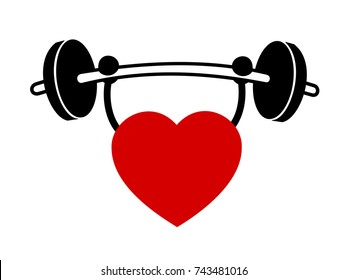 Heart and healthy lifestyle. Fitness, exercise with weights and body training for fit and healthy cardiovascular system. Vector illustration, comics style.