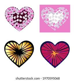 Heart, heartbroken colorful vector illustration. Print poster graphics