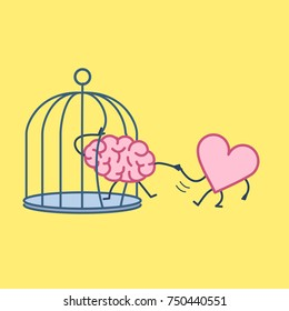 heart helping brain to escape from cage. Vector concept illustration of feelings support escaping imprisoned mind  | flat design linear infographic icon on yellow background